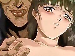 Angeseilt anime bekommt gedrückt ihre Brüste