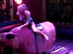 Upskirt girls on mechanical bulls