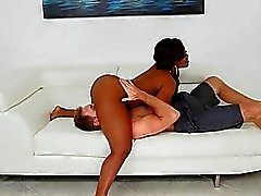 Juicy ebon enjoys riding on a meaty and thick cock