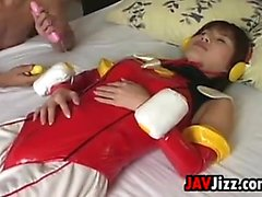 Japanese Chick In A Costume Gets Toyed With