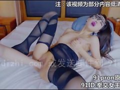 Horny Chinese girl, moaning in stocking and high heel