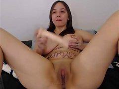 Busty girl with big masturbating
