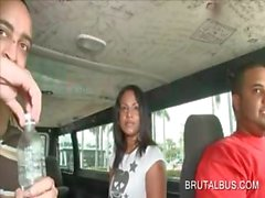 Horny amateur babe riding brutal bus for sex