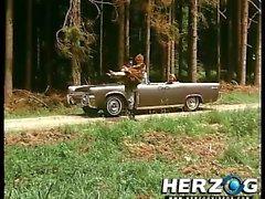 Retro kız araba arabadan tepesine becerdin alır