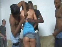 Three black men service a skank housewife while her husband watches