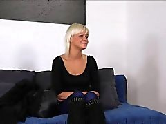 Mature blonde fucks for model licence