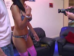 Horny brunette twins have group sex in kinky knee high boots