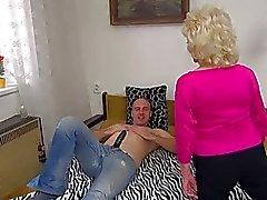 Horny man fucked old chubby granny