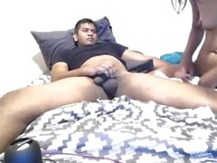 Horny Desi rubs her pussy hard and rides her boyfriend cock