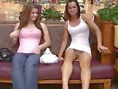 2 Girls flashing in mall