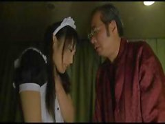 Japanese maid performs some nasty chores for her master and his friends