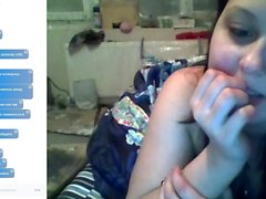 Selfshot solo tease and masturbation with teen