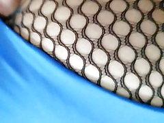 Back view fishnet tights blue leotard