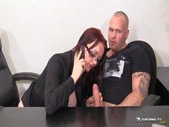 Horny busty secretary sucking her boss&#039_ cock