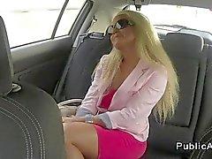 Sexy european blonde fucks in car