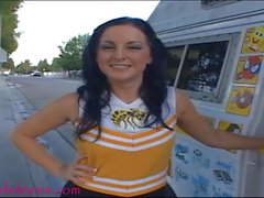 icecream truck teen cheerleader gets pounded and first taste of cum and swa
