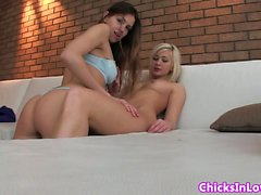 Real lesbian beauties make homemade video