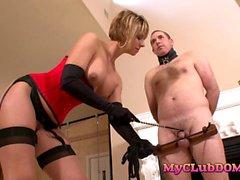 Cougar loves torturing her male slave