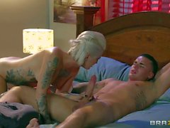 tattooed blonde whore rides on her lover