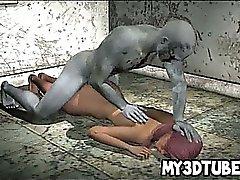 3D Heiß Babe bekommt einen Zombie zu Schwanz ihre nasse Muschi