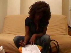 Ebony babe Jane gets interrupted for a pudgy guy to fuck her