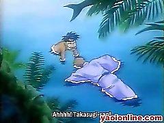 Двух рогатые Hentai геи горячем бассейне