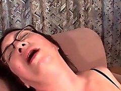 Mature slut taking facial and masturbating