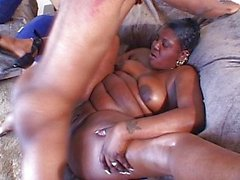 Brown BBW angel humping well