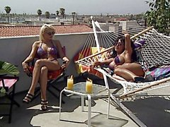 Hot lesbians masturbating on the terrace