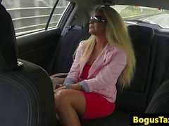 Taxi passenger doggystyling on cabbie cock