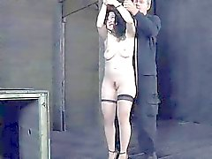 Bounded serf beauty is getting a pussy punishment