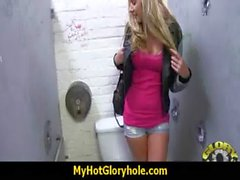 Horny Lady Enjoys Gloryhole Cocksucking Interracial 6