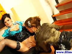Bukkake loving lesbos play at the gloryhole
