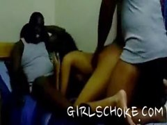 Black Cheerleader Get GangBang