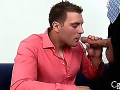 Blow job for charming gay stud