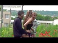 Teen girl in public sex threesome Part 2