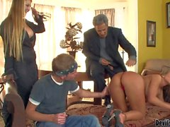Brunette MILF Nikki Sexx fucks with son and father