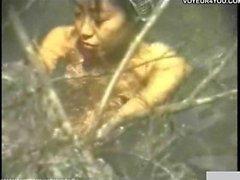 Close-up hot spring shower