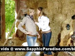 Lovely amateur lesbians kissing and having lesbian love outdoor