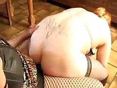 Chubby is masturbating before having a lesbian fling in the dining room