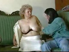 Fat, blonde granny gets licked, blows, and gets nailed by young dude
