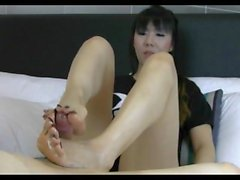 Messy Asian footjob