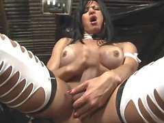 Mature Shemale Stokes Her Giant Clitty