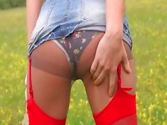 fluent striptease outdoor by the forest
