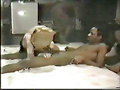 VINTAGE BLONDE MILF BBC Basement Gangbang