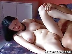 Busty amateur girlfriend anal action