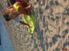 fantastic greek young. yellow bikini at the beach teasing us
