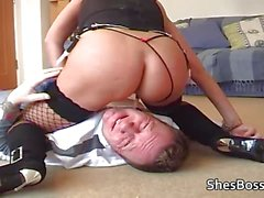 Landlord is made to lick tenants pussy