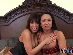Two hot Asian sluts share a rod