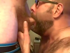 Bearded Guy Takes Two Loads to the Face from His Buddy.mp4